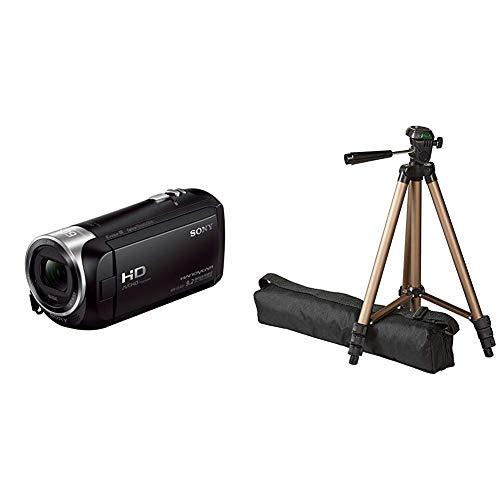 Sony HDR-CX405 Full HD Camcorder (30-fach opt. Zoom, 60x Klarbild-Zoom, Weitwinkel mit 26,8 mm, Optical Steady Shot) schwarz & AmazonBasics 127cm (50