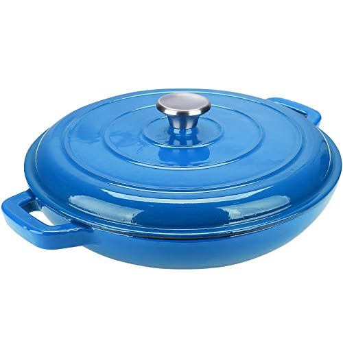Puricon Enameled Cast Iron Casserole Braiser Pan 3.8 Quart, Ceramic Enamel Cookware Skillet with Lid and Dual Handles -Classic Blue