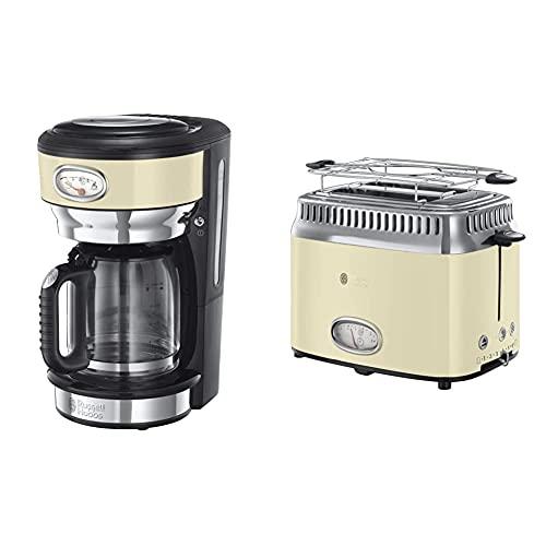 Russell Hobbs Retro 21702-56 Cafetera de goteo, jarra cafetera de cristal para 10 tazas, 1000 W + Retro Tostadora Vintage 2 Ranuras Cortas y Anchas, para 2 Rebanadas, Acero Inoxidable