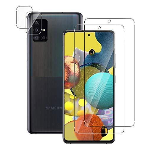 【2+2】 QULLOO Galaxy A51 5G フイルム + カメラフィルム SCG07 / SC-54A ガラスフイルム 高硬度9H 強化ガ...