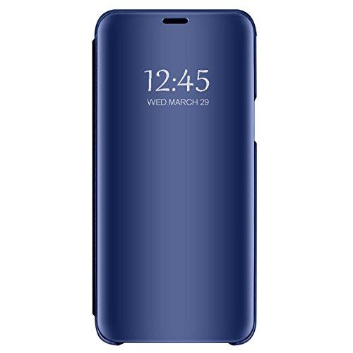 """Carcasa Xiaomi Mi 8 Flip Fundas Espejo PC Clear View 360° Protectora Xiaomi Mi 8 Lite Cover con Función de Soporte Anti-Choque Impermeable Case para Smartphone Mi 8 2018 6.21"""" (Mi 8 Lite, Azul)"""