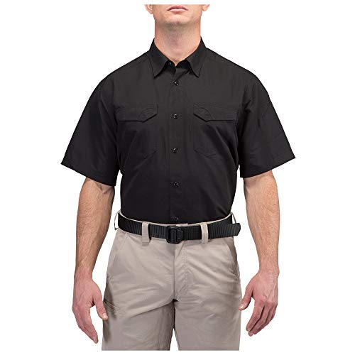 5.11 Tactical Men's Polyester Ripstop Fast-Tac Short Sleeve Button-Up Shirt, Style 71373, Black, Medium