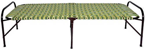 MyCrystal India Portable Single Folding Bed Heavy Duty Foldable Bed Frame Khat Cot, Sturdy Metal Bed Frame Space Saving Design Strong Plastic Niwar folding Beds (3X6 Feet, Multicolour)