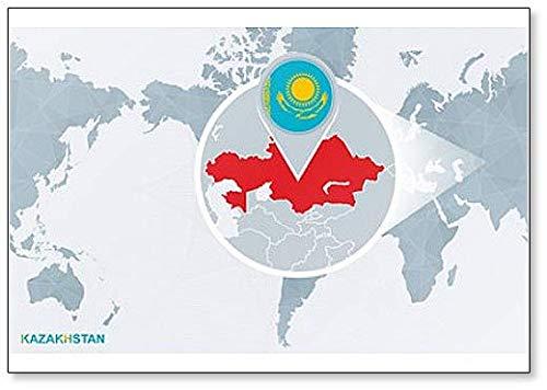 Kühlschrankmagnet Weltkarte auf Kasachstan
