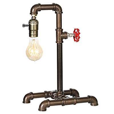 Industrial Table Lamp, Retro Water Piping Table Lamp Steampunk Desk Lamp with Rustic Bronze Metal, Loft Style Vintage Bedside Nightstand Lamp for Living Room, Bedside, Office, Café, Restaurant (ATD48)