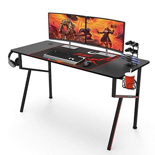 55 inch Computer Desk, K Shaped Large Gaming Desk Home Office PC Gaming Desk with Free Mouse Pad Headphone Hook Cup Holder, Black