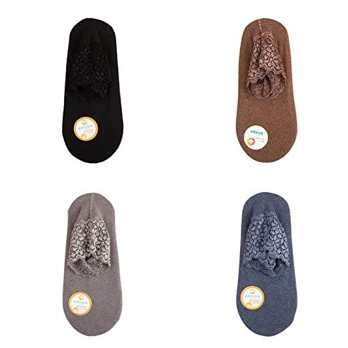 DMYJ 2021 Lace Warmer Socks, Lace Frilly Socks Women,Women Comfortable Lace Ankle Socks Ruffle Cotton Multi Colored Non Slip Socks (Black+Brown+Gray+Blue)