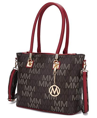 Mia K Collection Crossbody Shoulder Handbag for Women, PU Leather Pocketbook Top-Handle Purse Tote-Satchel Bag Red