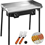 Happybuy Double Burner Stove Flat Top Griddle,32x17 inches 2 Burner Propane Gas Grill Griddle Stainless Steel,with 2 Turner for Home Outdoor Use