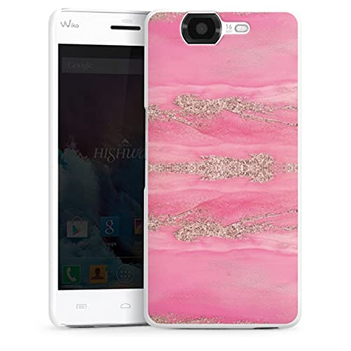 DeinDesign Hard Hülle kompatibel mit Wiko Highway Schutzhülle weiß Smartphone Backcover Glitzer Erscheinungsbild Marmor pink