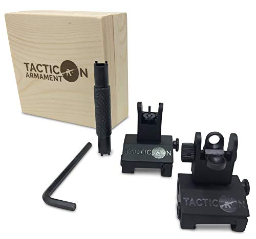 Flip Up Iron Sights for Rifle Includes Front Sight Adjustment Tool | Rapid Transition Backup Front and Rear Iron Sight BUIS Set Picatinny Rail and Weaver Rail