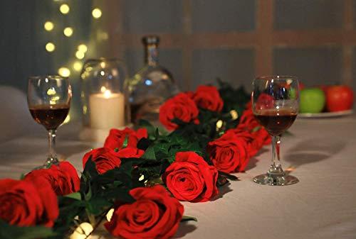 JUSTOYOU 10 Pack Künstliche Seide Rose Blumen Hochzeit Sträuße(rot) - 9