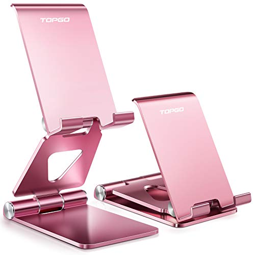Cell Phone Stand Holder Adjustable Increase Fully Foldable Thick Aluminum Desktop Cellphone Cradle Dock with Anti-Slip Base and Convenient Charging Port for iPhone for Bedside Table, Ofice, Desk-Pink
