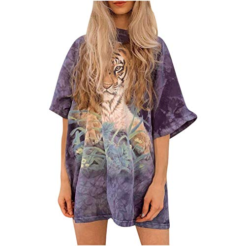 Oversized T Shirts for Women Vintage Tiger Print Graphic Tie Dye Tee Summer Casual Loose Short Sleeve O-Neck Tunic Blouse Top