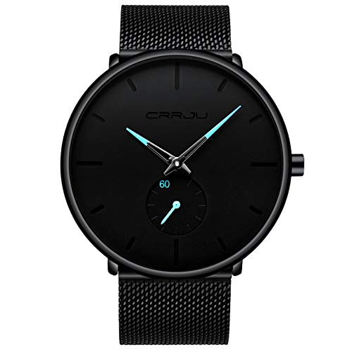 Relógio masculino minimalista, preto, casual, moderno, analógico, quartzo, pulseira de aço em malha, vermelho/azul/rosa, Preto, azul
