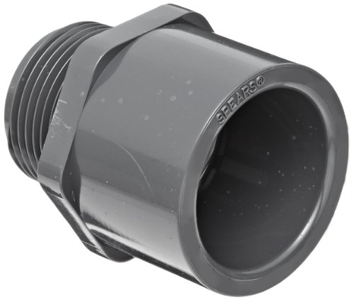 "Spears 836 Series PVC Pipe Fitting, Adapter, Schedule 80, 1-1/4"" Socket x NPT Male"