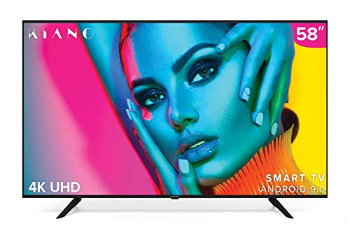 Kiano Elegance TV 50' Pouces Android TV 9.0 2GB RAM [127 cm Frameless TV] (4K Ultra HD, HDR, Miracast, Smart TV, Netfilx, Ipla, Youtube, Facebook) Triple Tuner, CI+, PVR, Alexa