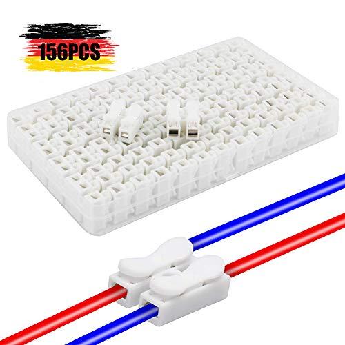 cersaty®Stecker 2 Pins Lüsterklemmen Steckbar Draht Push Typ LED-Streifen-Kabelstecker Schnelle Selbstsichernde Clip-Stecker -156pcs