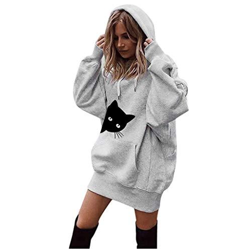 Xmiral Damen Sweatshirt Mode Baumwolle Einfarbig Kleidung Hoodies Kordelzug Pullover Mantel Lange Hoody (M, Y Grau)
