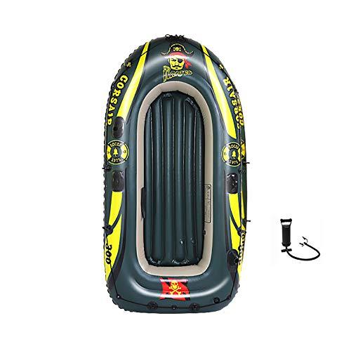 Tingeart Barco Inflable Kayak, Canoa Barco de Pesca Portátil Inflable En Bote Plegable De Goma Boat Bote de Goma PVC Verde 236x138x45cm