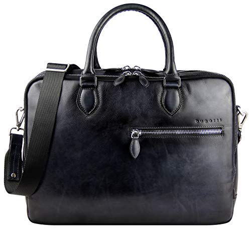 """Bugatti Domus Businesstasche für Damen und Herren mit 15"""" Laptopfach, Arbeitstasche Aktentasche Große Bürotasche, Grau"""