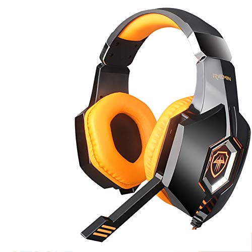 QNSQ Headset gaming headset, Surround Sound PC Gaming Headset, Ingebouwde 7.1 geluidskaart audio-processor, Koele gloeiende esports entertainment headset, size, ORANJE