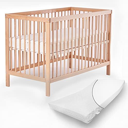 Mitwachsendes Babybett 70x140 cm Toni aus hochwertiger Buche, mit Schlupfsprossen und Matratze ohne Schublade in Natur