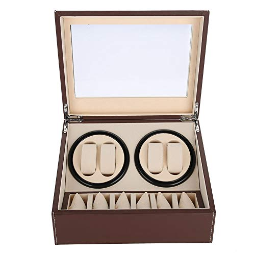 Yosoo Health Gear Caja enrolladora de Reloj automática, Caja de Reloj de Cuero PU, Caja de Reloj, enrolladora de Reloj giratoria, Caja de Almacenamiento de Reloj de 4 + 6 Rejillas(marrón)