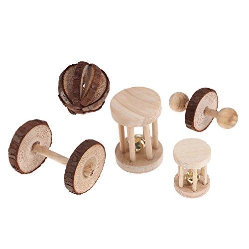 UEETEK 5pcs Roller Chew aus Holz mit Glocke Spielen Kauen für Vögel Hamster Kaninchen Kleintier