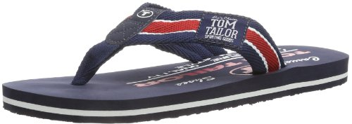TOM TAILOR Herren Men Casual Zehentrenner, Blau (Navy-red), 40