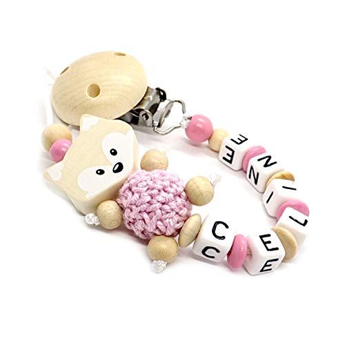 Schnullerkette mit Namen für Junge & Mädchen | VIELE INDIVIDUELLE MODELLE | Personalisierte Nuckelkette mit Wunschnamen (Fuchs, Natur, Rosa)