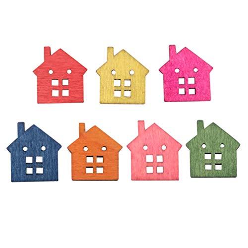 Healifty 50 Pezzi Bottoni in Legno 2 Fori a Forma di casa Colorati Bottoni Carini Bottoni da Cucire Accessorio per Cucire per la Decorazione Fai-da-Te di Abiti Artigianali Fai da Te (Colore Misto)