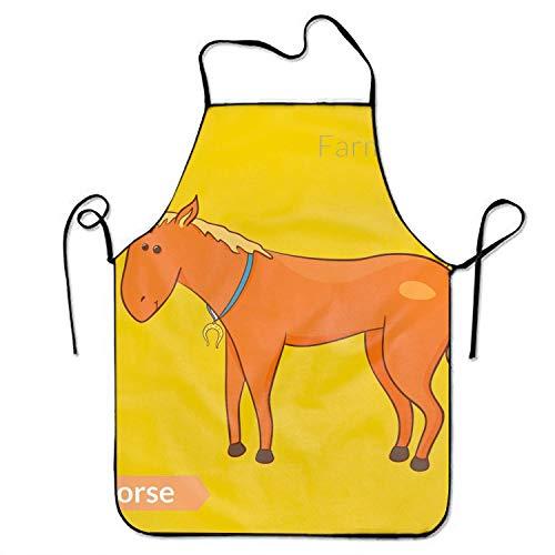 Not Applicable Nettes Cartoon-Pferd mit Hufeisen-isolierten Küchenschürzen für Frauen und Männer Verstellbarer Seitengurt Restaurant Home Chef Lätzchenschürze zum Kochen Grill Grill