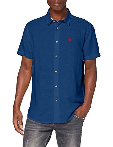 Springfield Herren Linen Short Sleeve Franq-c/15 Freizeithemd, Blau (Medium_Blue 15), Large