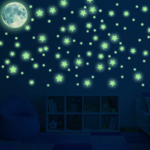 Adesivi da Parete Fluorescenti, Glow in The Dark Stickers, luminoso con Stelle e Grande Luna DIY Parete Arte per Regalo di Feste Compleanno per Bambini(167pcs)