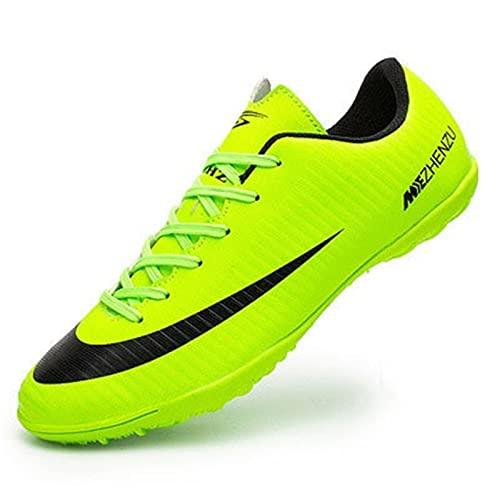 Inrrari Zapatos de fútbol para Hombre Entrenadores de fútbol Transpirables Clases de césped Interior Turf Soccer Ligero Ligero Running Botas al Aire Libre Unisex (Color : Green, Size : 36)