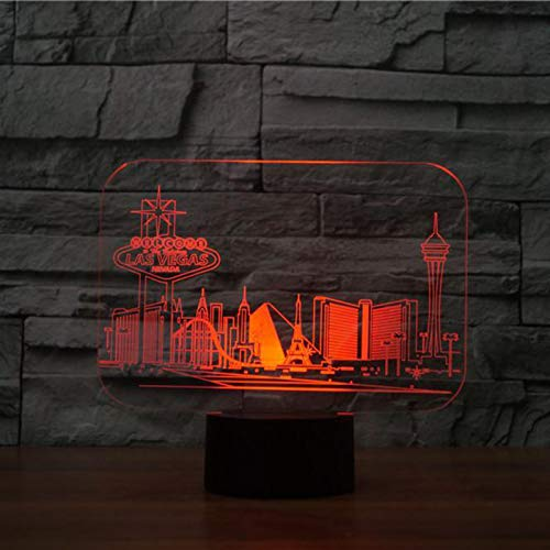 KangYD 3D Night Light Prosperous City Style Building, LED Illusion Lamp, A - Touch Black Base(7 Color), Desk Lamp, Bar Decor, Birthday Gift, Decor Lamp, Gift for Child