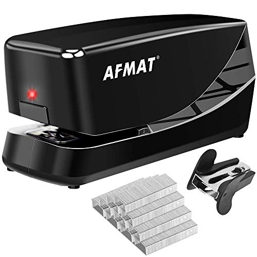 Electric Stapler, Heavy Duty Electric Stapler Desktop, 25 Sheets, Automatic Stapler for Desk, AC or Battery Stapler with Reload Reminder & Release Button, Black
