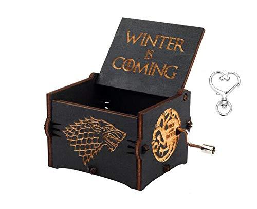 Cuzit - Boîte à musique à manivelle sur le thème musical de la série «Game of Thrones» - Boîte à musique en bois gravé de l'inscription «Winter is coming»