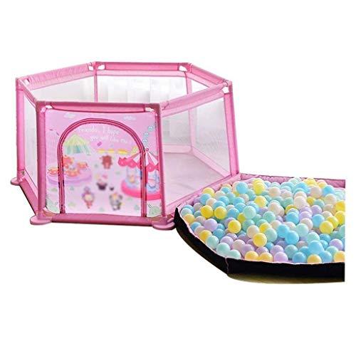 Baby Playpen Portable Hexagon Kids Safety Play Center Yard Indoor Infant Play Clôture avec Coton, 65cm de Haut, 2 Couleurs (Couleur: Rose/Bleu) (Couleur: Rose, Taille: 145x65cm)