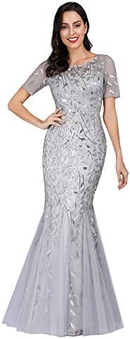 Women s Floor Length Mermaid Dress Long Party Prom Gown Silver US8 product image