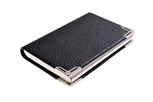 Visitenkartenetui / -halter aus Kunstleder, Ecken mit Edelstahl verstärkt, für 19-21 Karten, Farbe: schwarz, Mod. 4116-01 (DE)