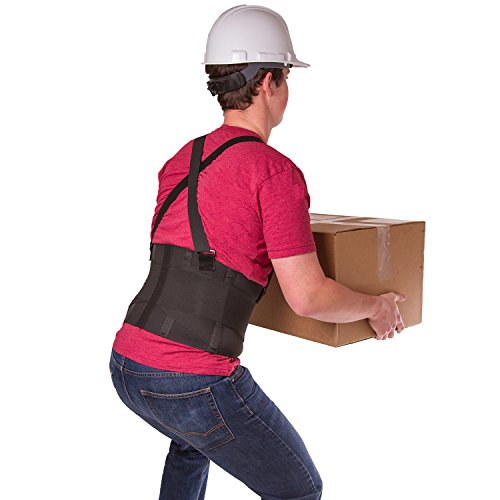 BraceAbility Industrial Work Back Brace | Removable Suspender Straps for Heavy Lifting Safety - Lower Back Pain Protection Belt for Men & Women in Construction, Moving and Warehouse Jobs (Large)