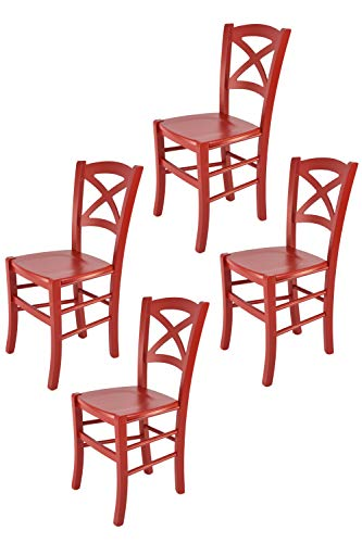 Tommychairs - Set 4 sillas Modelo Cross para Cocina, Comedor, Bar y Restaurante, Estructura en Madera barnizada lacada Color Rojo y Asiento en Madera
