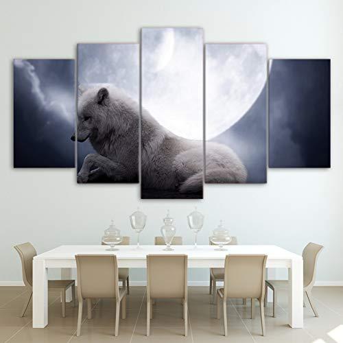 QAZWSY muurkunst canvas woonkamer schilderij 5 stuks witte wolf ligstoelen onder de maan nacht poster wooncultuur 20x35 20x45 20x55 CM Geen frame.