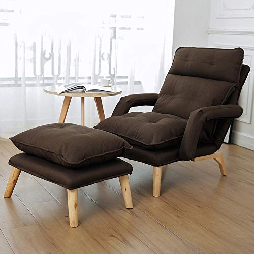 PQXOER Sofa Chair Modern Relax Lounge Armchair Recliner With Footrest Stool Ottoman For Office Living Room Brown 5 Colors Floor Sofa (Color : Coffee, Size : Free size)