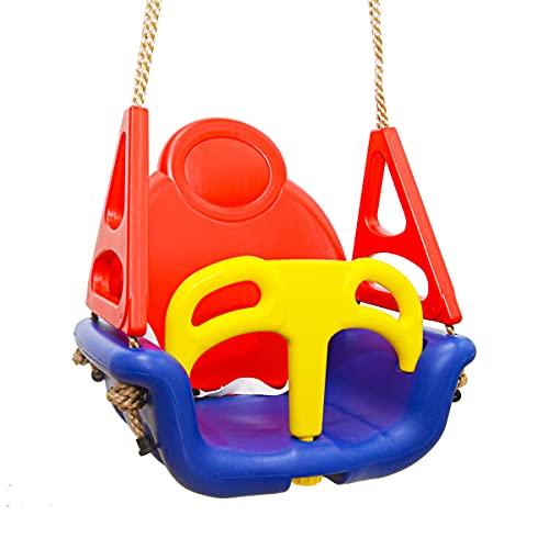 LittleTom 3-in-1 Kinderschaukel Baby Garten Schaukel 40x43x33cm Indoor Outdoor 6-72 Monate (Blau-Rot-Gelb)