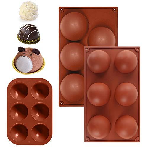 Silikon-Backform Halbkugel, Bakeware Set Silikonform für Gelee Pudding Süßigkeiten Schokolade 6 Löcher 5 Löcher Brown Farbe, 3er Set