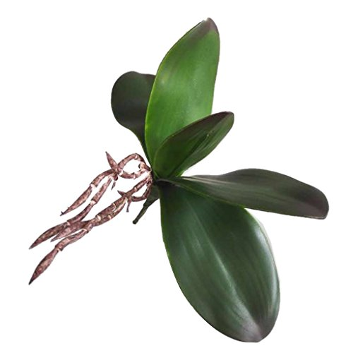 Rama de Hojas Verdes de Orquídea Artificial Decoración de Boda de Casa de Fiesta - B