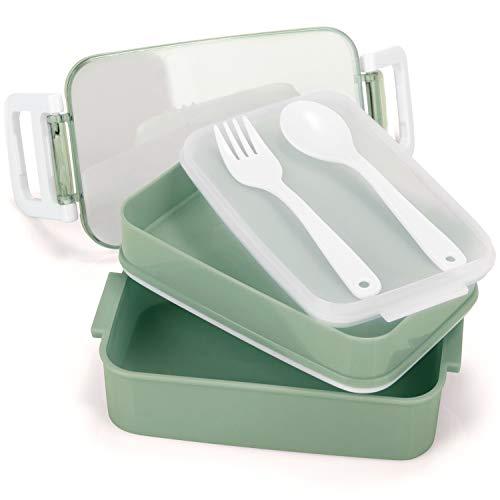 COM-FOUR® Fiambrera en color verde con cubiertos y 2 compartimentos separados - fiambrera para la escuela, el trabajo, la universidad y sobre la marcha (1 pieza - verde - 18cm)